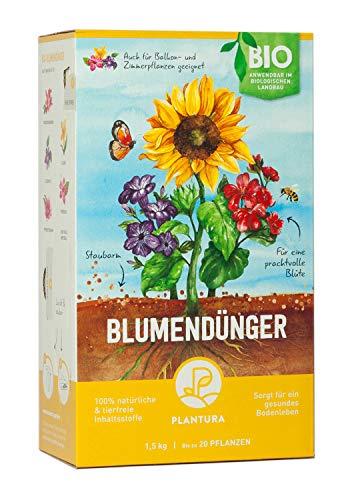 Plantura Bio Blumendünger mit 3 Monaten Langzeitwirkung für den Garten & Balkon-Pflanzen, für eine prächtige Blüte, gut für den Boden, unbedenklich für Haus- & Gartentiere, 1,5 kg - Bio-pflanze
