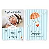 10 x Geburtskarten Babykarten Geburt Baby individuell Mädchen Junge - Heißluftballon Himmel