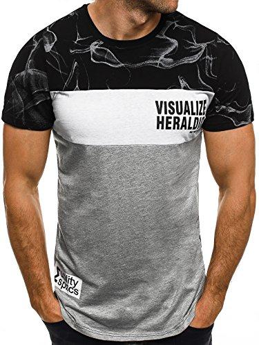 OZONEE Herren T-Shirt mit Motiv Kurzarm Rundhals Figurbetont J.STYLE SS012 Schwarz_JS-SS111