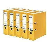 Falken PP-Color Kunststoff-Ordner 8 cm breit DIN A4 gelb 5er Pack Ringordner Aktenordner Briefordner Büroordner Plastikordner Schlitzordner