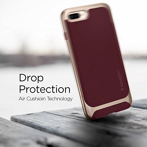 Coque iPhone 8 Plus, Coque iPhone 7 Plus / 8 Plus, Spigen® [Neo Hybrid Herringbone] PREMIUM BUMPER [Gunmetal] Bumper Style Premium Case Slim Fit Dual Layer Protective Coque Pour iPhone 7 Plus / 8 Plus NHH Burgundy