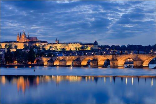 Poster 91 x 61 cm: Karlsbrücke in Prag von Jan Schuler - hochwertiger Kunstdruck, neues Kunstposter