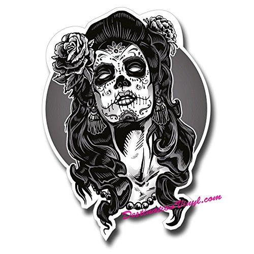 Preisvergleich Produktbild 2 x Glänzendes Vinyl Aufkleber Sugar Skull Face Lady Girl Zombie Laptop Aufkleber 0110 - 10cm Tall x 7.2cm Wide