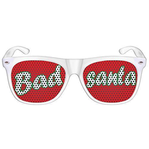 ille / Spassbrille für Weihnachten, lustige Accessoire Idee für die Weihnachtfeier oder Christmas Party, Atzen-brille mit X-MAS Motiv (Nerd weiß, Bad santa) (Einfache Promotion-dekorationen)