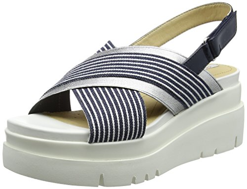 Geox d radwa a a, sandali con zeppa donna, blu (navy/white), 37 eu