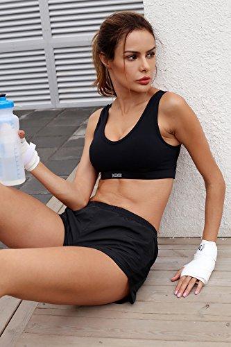 Win2free Sport-BH High Impact Gepolstert Bügellos mit Atmungsaktiv Netz Schwarz