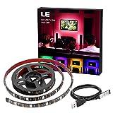 LE LED Strip RGB USB TV Hintergrundbeleuchtung LED Streifen 1m Kit für 20-40 Zoll Monitor, TV, LED Lichtband Mit USB Kabel Und Mini Fernbedienung, 30 Stück 5050 LEDs, Raumausstattung, Dekoration, Party, Ambientbeleuchtung