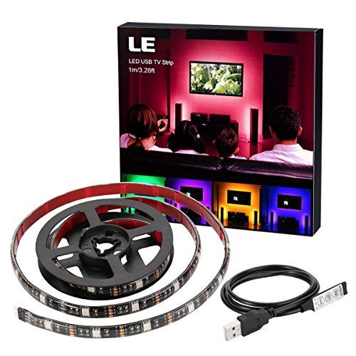 Foto de LE Tira LED USB 1m 30*5050 SMD RGB Retroiluminación Multicolor, con Controlador, Modos de luz, Decoración del hogar, Ordenador, Muebles