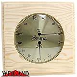 """Weigand """"PUU"""" Sauna Thermometer Hygrometer I Nachjustierbare Kombination I Klimamesser in schönem Holzrahmen I Saunazubehör"""