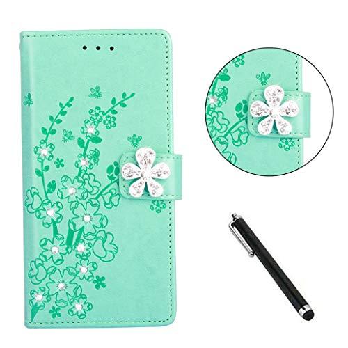 Beddouuk Glitzer Hülle for Huawei P20,Premium PU Leder Flipcase Brieftasche Schutzhülle [Standfunktion][Kartenfach][Bling Buckle] Bumper Soft TPU Cover-Blau