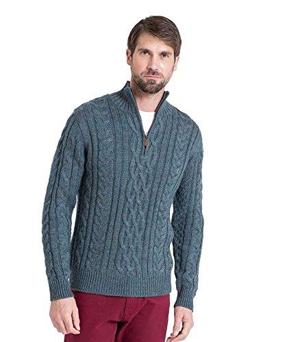 WoolOvers Pull irlandais en maille torsadée à col zippé - Homme - Pure laine Kiltimagh