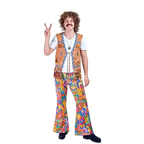 Charm Rainbow Hippie Hose Herren Vintage Mexiko 70er Jahre Mann Hippy Blumen Glocken Hose Fasching Karneval Set 2 Größe (M-L)
