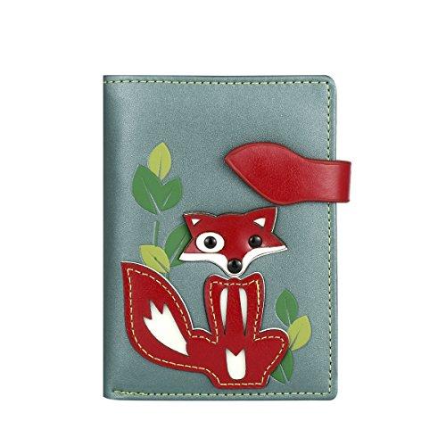 RFID borsa del portafoglio MENKAI disegno volpe verde Balsam 666-C2 Balsam Green