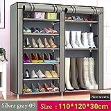 UYEdecor Armario para Zapatos de 10 Capas con 9 Rejillas No Tejido Tejido Organizador de estantes para Zapatos Grande Almacenamiento de Zapatos extraíble para Muebles para el hogar 09 Silver Gray