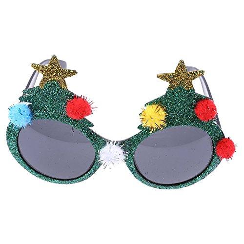 Trixes Grüne Glitzer 3D Sonnenbrille NEUHEIT Weihnachtsbaum Fancy Dress festliches Zubehör