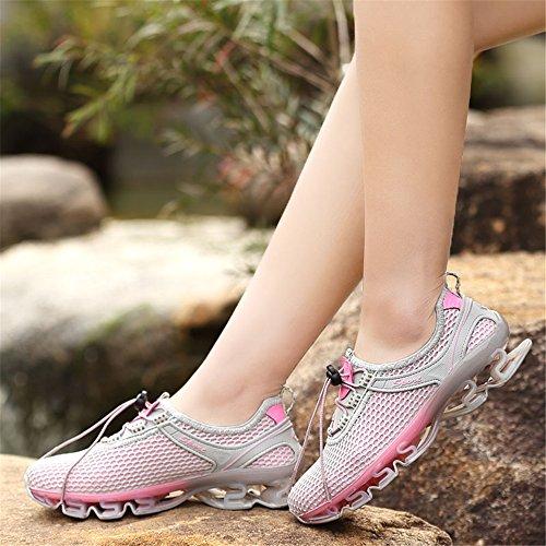 KuBua Chaussures de Sport Homme Femme Running Sneakers Mesh Chaussure de Course Compétition Shoes Trail Entraînement Marron Bleu Gris Rose 35-47 Rose
