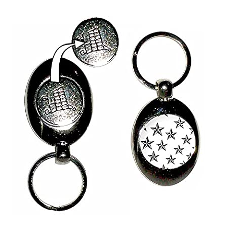 Nautical Stars - Shopping Trolley Coin Key Ring