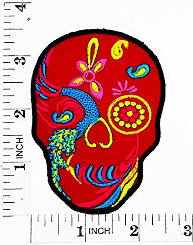 Red Skull Art Skull Patterns Beautiful Design Rider Biker Motorcycle Patch Hand Embroidered Iron-on And Sew-on Symbol Jacket T-shirt Patches Applique Accessories