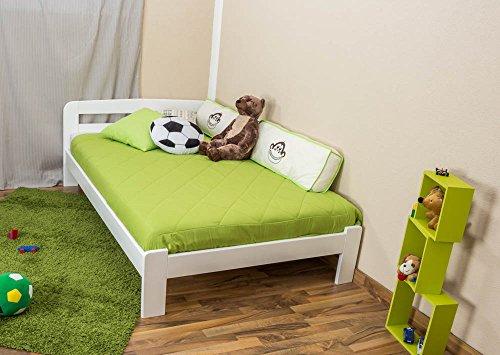 Kinderbett / Jugendbett Kiefer Vollholz massiv weiß lackiert A5, inkl. Lattenrost - Abmessung 120 x 200 cm