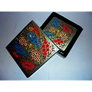 Artcollectibles India 4.5'' X 4.5'' X 1.5'' Decorative Handpainted Wooden Coaster Set, Christmas Gift