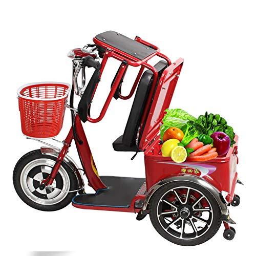 ZZUU Elektroroller 4-Rad, Elektromobil Für Senioren, Scooter, Seniorenfahrzeug, Mit Polymer-Li-Ionen-Akku, Für Ältere Menschen, Erwachsene,Red,20Ah