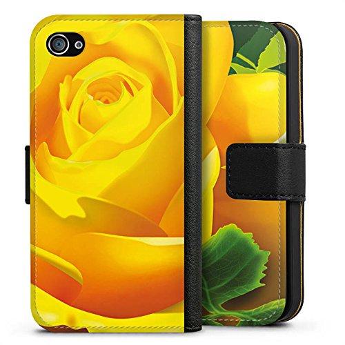 Apple iPhone X Silikon Hülle Case Schutzhülle Rose Blüte Gelb Sideflip Tasche schwarz