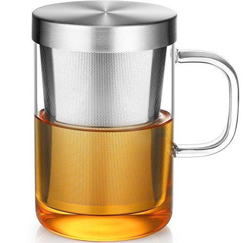 Ecooe Glas Tasse mit Metallsieb Teeglas Teebecher aus Borosilikat Teetasse 500ml (Volle Kapazität) - Tee-filter-tasse