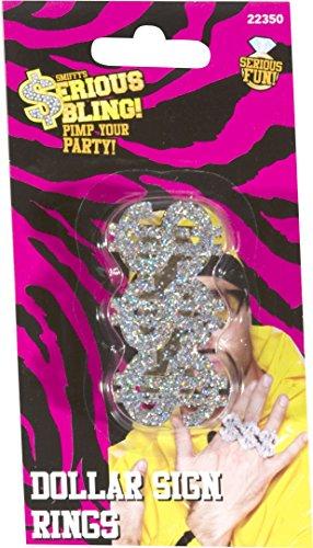 Smiffys, Unisex 3 in 1 Dollar Zeichen Kunstschmuck Ring, One Size, Silber, (Kostüme Ideen Rapper)