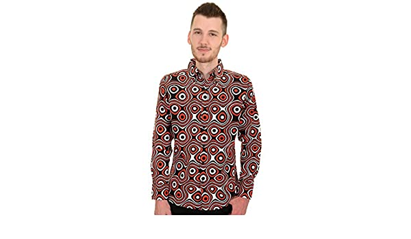 Men/'s Run /& Fly 60/'s Retro Black White /& Red Op Art Psychedelic Shirt