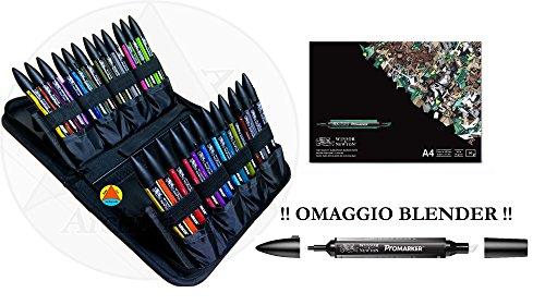 PROMARKER PANTONE PENNARELLI DOPPIA PUNTA WINSOR&NEWTON LETRASET PANTONI SET MIXED SET 24 + BLOCCO BLEEDPROOF A4 + PROMARKER BLENDER OMAGGIO!