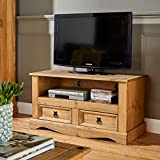 Flat Screen TV Unit | TV Stand | Corona Mexican Pine TV Table | 2 Drawers | Rustic Design by House of Cotswolds