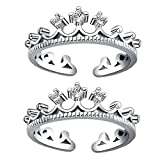 #6: Om Jewells Rhodium Plated Princess Crown Adjustable Toe Ring Made with Cz Stone for Girls and Women TR10001001