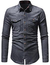 Camisas para Hombres Moda Retro Personalidad Clásico Botón Ajustado Delgado  Negocio Casual Camisetas de Manga Larga Camisa… 0943f16ced0