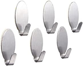 Casabella Stainless Steel Adhesive Wall Hooks for Room, Kitchen, Bathroom, Light Weight Clothes etc. (Upto 2 kg)
