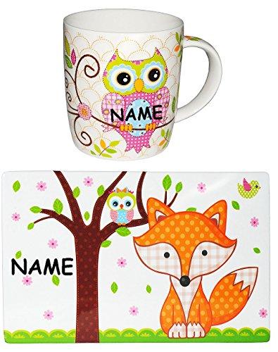 """Set: Frühstücksbrettchen & Tasse - \"""" Eule & Fuchs \"""" - incl. Namen - Frühstücksset - auch als Schneidebrett / Frühstücksbrett / Eßunterlage / Platzdeckchen / Tischunterlage - mit Eulen Tiere - Schneidebrettchen - Schneideunterlage Frühstück - Tasse"""