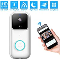 Wireless Video Doorbell Monkaim FHD 1080P WiFi smart Doorbell 170°Wide Angle Home Security Doorbell Camera Two-Way Talk, PIR Motion Detection, Night Vision 2 Free Rechargeable Battery