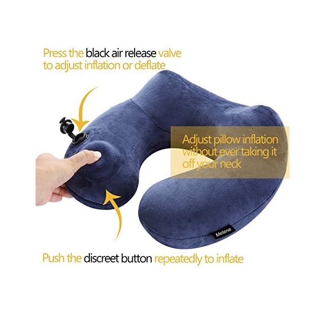 Oreiller de voyage Metene, luxueusement doux, oreiller tour de cou gonflable, soutien-compact & léger pour dormir sur avion, voiture et Train.