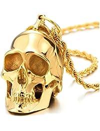 Grande Colgante de Cráneo Oro, Calavera, Collar de Hombre, Acero, Espejo Pulido,Cadena de Trigo 75CM