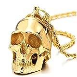 COOLSTEELANDBEYOND Grande Colgante de Cráneo Oro, Calavera, Collar de Hombre, Acero, Espejo Pulido,Cadena de Trigo 75CM