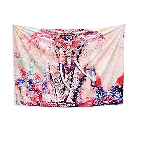 MS.DEAR Tapiz de Elefante Bohemio, 150 x 130 cm, Mandala India, para Colgar en la Pared, Hippie Bohemio, para Mantel, Esterilla de Yoga, alfombras, meditación, Toalla de Playa, Manta de Picnic