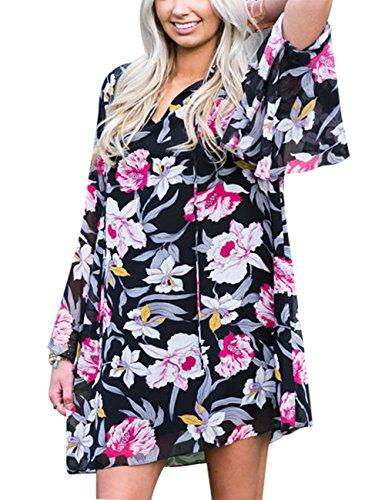 YesFashion Femme Robe Mini Robe Floral Robe large Manches longues évasé décontracté Noir