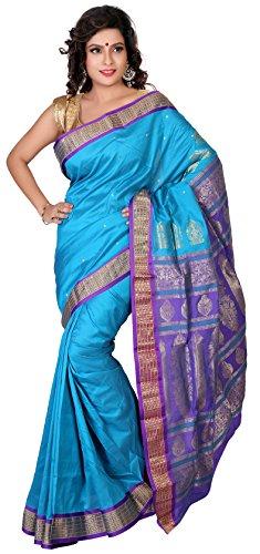 Aruna Fashions Self Design Paithani Gatti 3D Art Silk Saree( Deep Sky Blue color saree with Blue Violet color blouse piece)  available at amazon for Rs.999