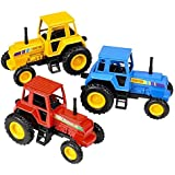 Pull Back And Go - 3.75 Inch Farm Tractors (Package Of 12)