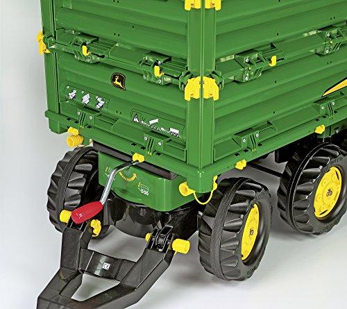 *Rolly Toys 125043 Anhänger rollyTrailer John Deere, in 3 Richtungen Kippbar; mit Gewindekurbel, mit Heckkupplung (für Kinder ab 3 Jahren geeignet, drei Achsen, Farbe Grün, Radkappen Farbe Gelb)*