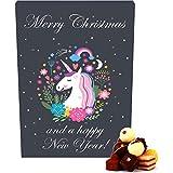 Hallingers 24 Pralinen-Adventskalender, mit/ohne Alkohol (300g) - Einhorn - Einhornkalender (Advents-Karton) - zu Weihnachten Adventskalender