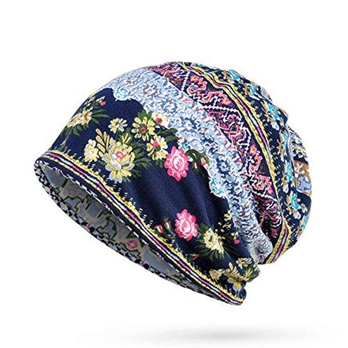 Line Ski Hut (PinzhiFrauen Baumwolldruck Streifen Beanie Hüte Casual Outdoor für beide Hüte und Schal verwenden(Blau))