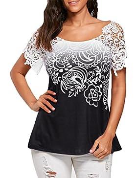 FAMILIZO Camisetas Mujer Verano, Blusa Mujer Elegante Camisetas Mujer Manga Corta Algodón Camiseta Mujer Camisetas...