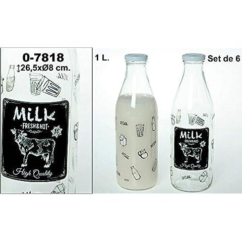 DonRegaloWeb - Set de 6 botellas de cristal y 1 l de capacidad decoradas con vaca y logo milk en color transparente y