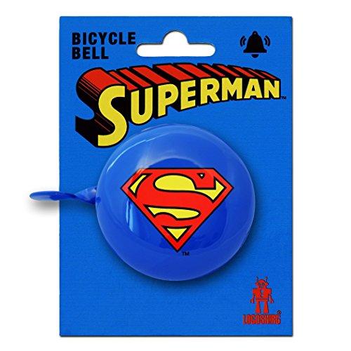 d - Superman Logo Retro Fahrradklingel aus massivem Stahl - blau - LOGOSHIRT (Superman Returns Kostüm)