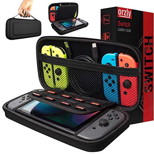Orzly Tragetasche kompatibel mit Nintendo Switch - Aufbewahrungstasche / - Hartschalen Case/Cover/Hülle/Schutzhülle für die Verwendung mit der Nintendo Switch Konsole & Accesoires in SCHWARZ